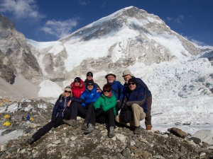 Team F with the infamous Khumbu ice fall behind