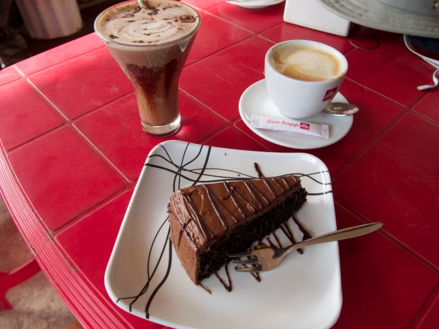 Chocolate cake and Illy coffee in downtown Namche